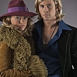 "For her first onscreen moment as Suzy Miller, Wilde (who, along with Hemsworth, is dressed in Gucci throughout) wore one of Day's favorite looks — and rightfully so: ""This is where James Hunt falls in love and realizes he wants to marry this woman."" Source: Universal Pictures"