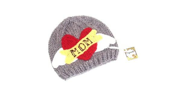rocker mom heart beanie