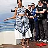 Freida Pinto smiled during the Desert Dancer photocall at the Cannes Film Festival.