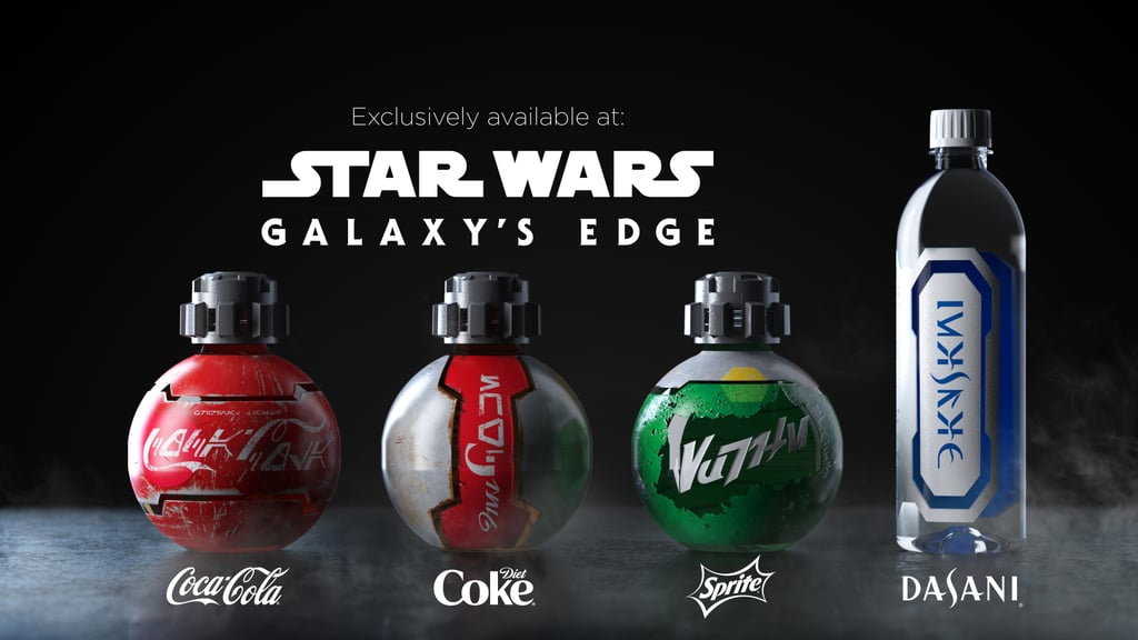 "In a galaxy far, far away . . . Luke Skywalker spent his days on Tatooine drinking blue milk and also, apparently, Coca-Cola. OK, not really, but as part of Disneyland's never-ending mission to completely blow our minds, the park is opening an entire new section called Star Wars: Galaxy's Edge — and even the soda is space-themed. In partnership with Disney, the soft drink company is releasing custom bottles of Coca-Cola, Diet Coke, Sprite, and Dasani water, and the bottles look like mini droids! The spherical ""orb"" bottles, which took three years to design, come with resealable lids and look like props straight out of the films, complete with scratched metal labels written in Aurebesh, the written form of Galactic Basic, Star Wars' featured language. I can just imagine Han and Chewie tossing these back in between missions or Rey sipping one down to wash away the taste of her ration pack.  ""For over 40 years, people have been dreaming about stepping into the worlds of Star Wars,"" said Scott Trowbridge, the portfolio creative executive and studio leader at Walt Disney Imagineering. ""With Star Wars: Galaxy's Edge, we want to give our guests the opportunity to finally make those dreams come true."" Star Wars: Galaxy's Edge will be open to the public on May 31 at Disneyland in Anaheim, CA, and on Aug. 29 at Walt Disney World, so hop into your space cruiser and check out the other galaxy-themed snacks Disney has in store.      Related:                                                                                                           The Ominous Laugh at the End of the Star Wars: Episode IX Trailer Reveals the Film's Villain"