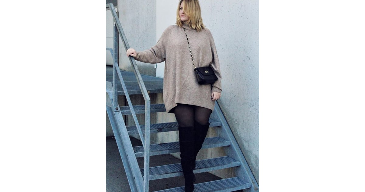 An Oversize Sweater Dress With Tights And Thigh High Boots Plus