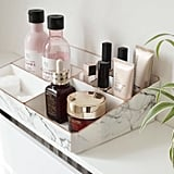 White and Rose Gold Marble Make Up Organiser