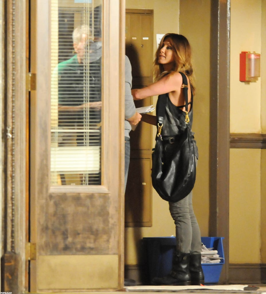 Jennifer Aniston reported to the North Carolina set of We're the Millers for another day in front of the cameras this afternoon. She let her bra peek through her tank top during filming, which got started late last month. Jennifer plays a prostitute in the movie and has already shared scenes with Jason Sudeikis and Emma Roberts. While Jennifer's busy working, her boyfriend, Justin Theroux, has been hanging out in NYC. Justin is in the running for our 2012 Shirtless Bracket title, after he showed off his rock-hard abs during an overseas getaway with Jennifer in June — make sure to vote for your favorite shirtless star!