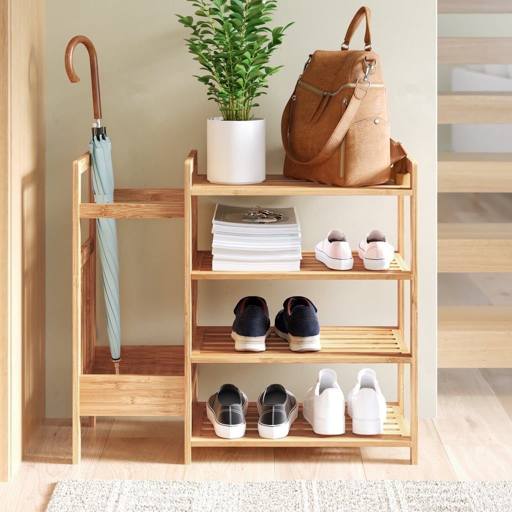 Dotted Line Bamboo Entryway 8 Pair Shoe Rack
