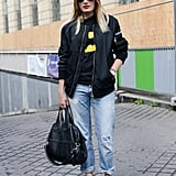 A sporty topper gave cool-girl edge to red pumps and a Givenchy satchel in this mix-up.