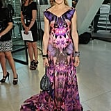 A gorgeous, printed McQueen gown for the CFDA Awards in 2010.
