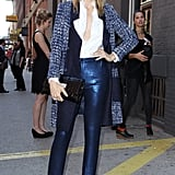 Kelly Rutherford spotted in shimmery pants outside of Milk Studios.
