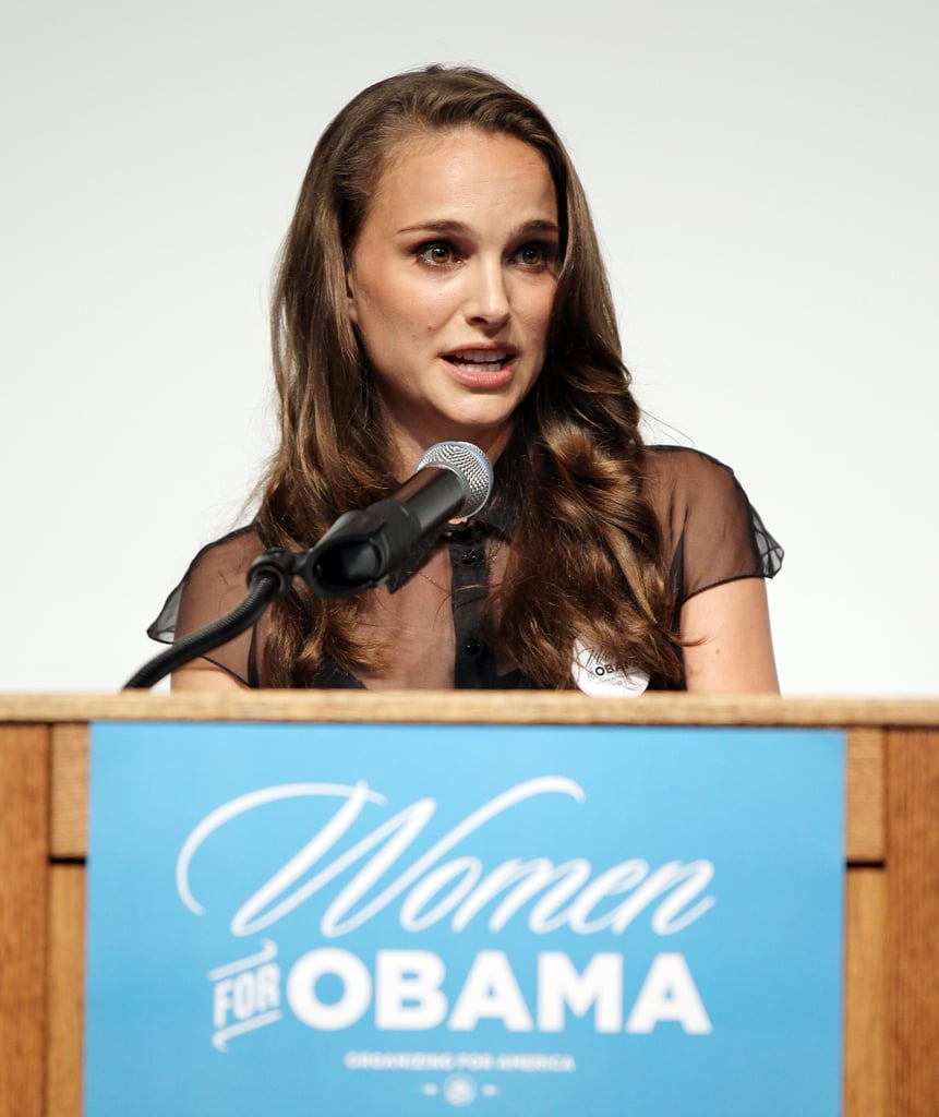 """Natalie Portman headed to Las Vegas on Saturday to attend a special event on behalf of President Obama's reelection campaign. She was a guest of honour at the Nevada Women Vote 2012 Summit, which aimed to highlight the differences for women that would occur under another term for the president vs. his Republican rival Mitt Romney. Natalie spoke to hundreds of Obama supporters at the city's Historic Fifth Street School. There will be a series of Women Vote Summits, but Natalie picked Nevada for a reason. Explaining her decision to appear in Vegas, Natalie said, """"Nevada is a battleground state, and the women are really going to decide this election."""" Prior to the political event, Natalie got her nails done in LA. Natalie and her family, husband Benjamin Millepied and their son, Aleph Millepied, have been on the West Coast while both Natalie and Benjamin work on new projects."""