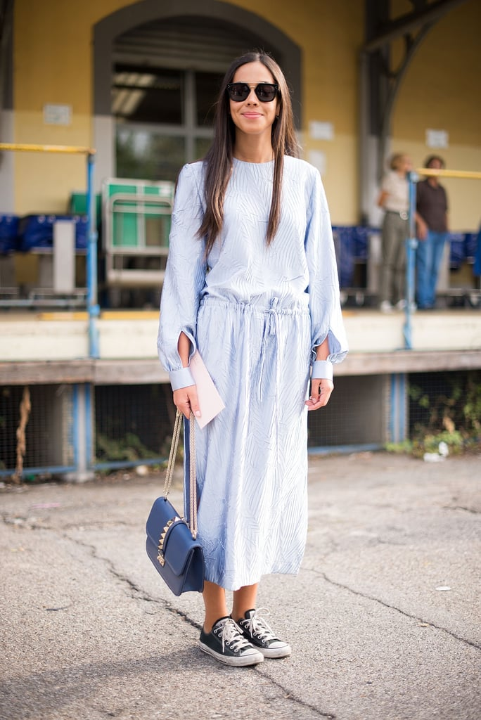 Converse look undeniably cute with a cool, laid-back maxi.
