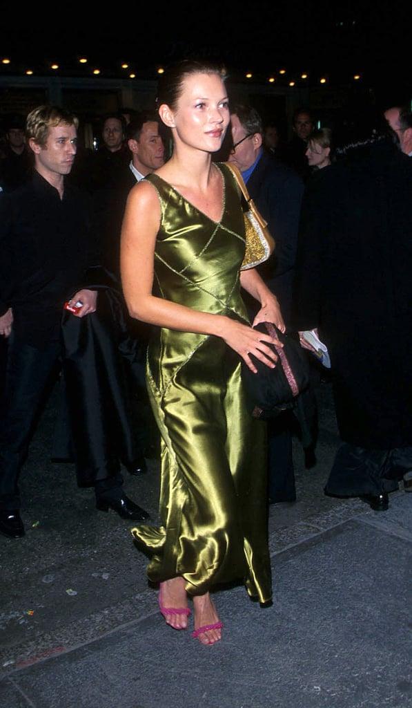 Wearing a green silk bias cut dress in March, 1999.