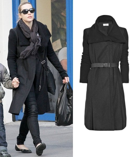 Photos of Kate Winslet in a Black Belted Coat in New York