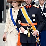 Princess Stephanie and Prince Guillaume of Luxembourg walked together following the ceremony in Amsterdam.