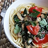 Entrée: Spaghetti With Spinach in a White Wine Garlic Sauce