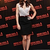 Jessica opted for a top and skirt ensemble at the Mexico premiere. Polished, ladylike, sophisticated.