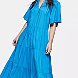 Topshop Blue Poplin Smock Midi Dress