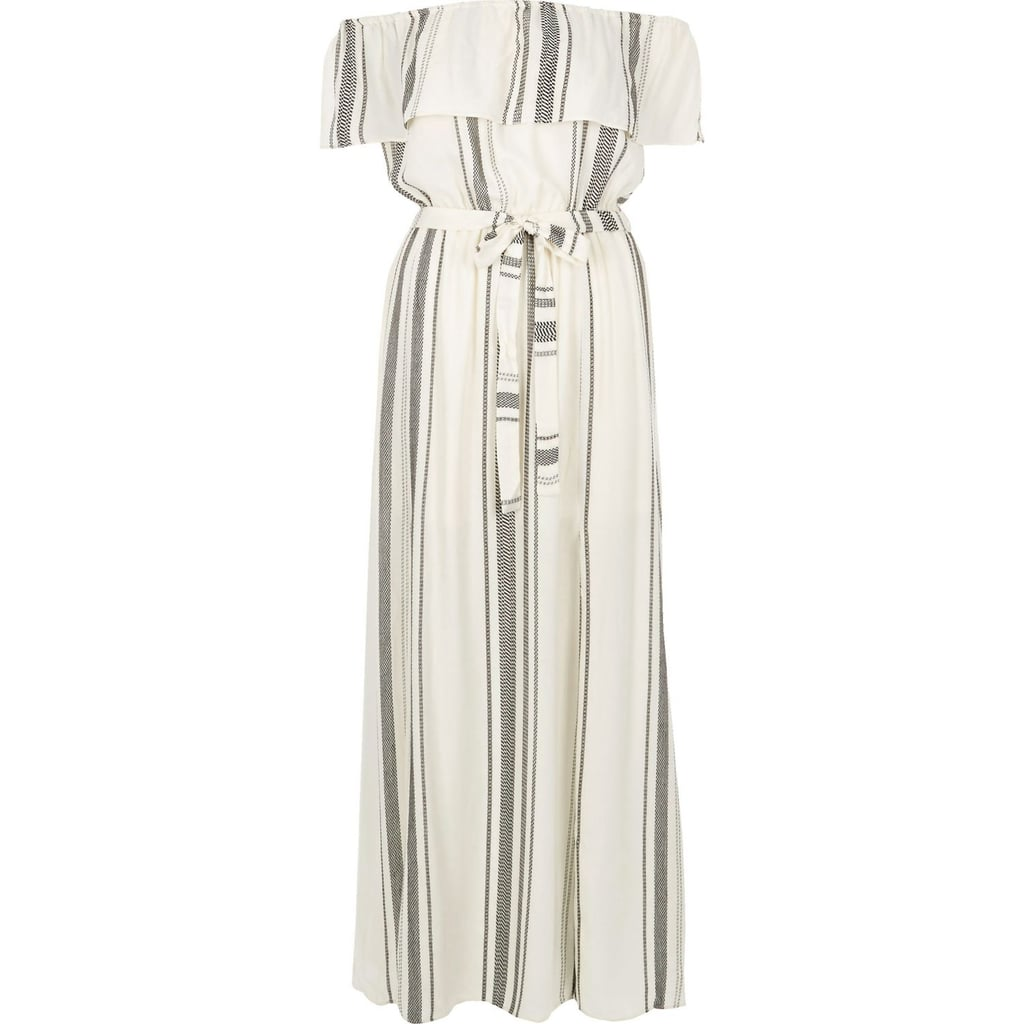 River Island Womens White Stripe Bardot Maxi Dress 35 Best