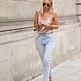 Wear a '90s Minimalist Heel With Simple Cropped Skinnies and a Satin Camisole