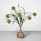 Artificial Pod Flower Arrangement in Glass Vase in Green/Clear