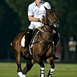 In November 2014, Harry competed in a charity polo match in Abu Dhabi.