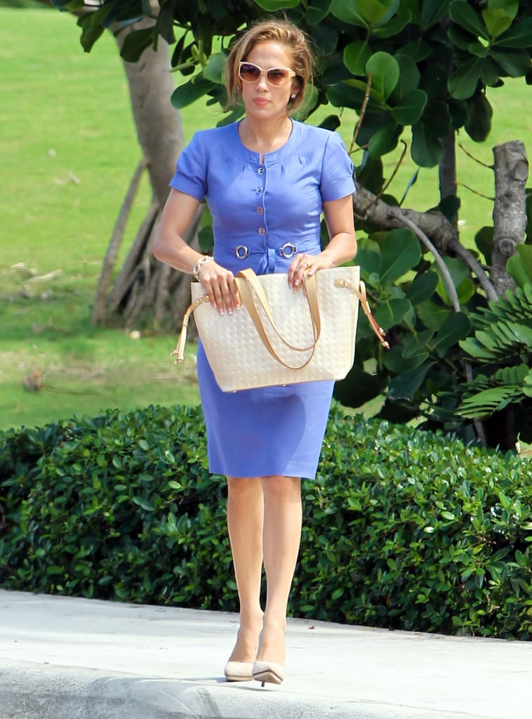 Jennifer Lopez wore all blue on the Florida set of her latest film, Parker.