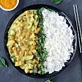 Chickpea-zucchini curry  and rice