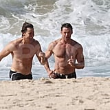 Hugh Jackman brought a friend for a shirtless outing in Sydney.