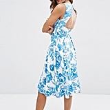 ASOS Cut Out Back Midi Dress in Blue Floral Print