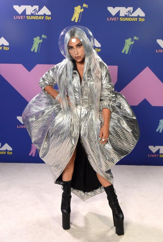 Lady Gaga Wearing a Metallic Area Dress at the 2020 MTV VMAs