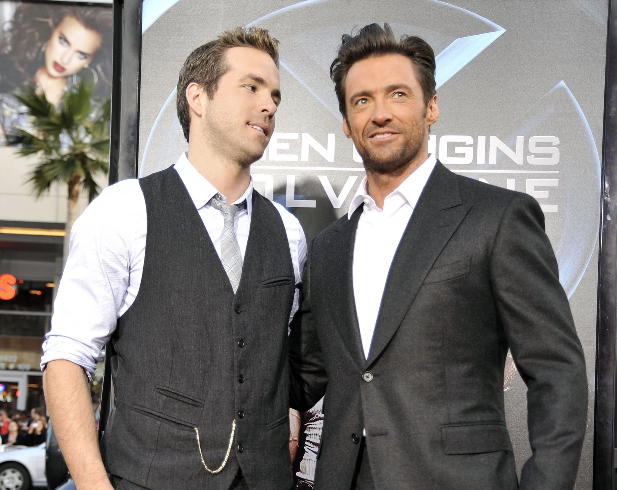 LOS ANGELES, CA - APRIL 28:  Actors Ryan Reynolds (L) and Hugh Jackman arrive at the screening 20th Century Fox's