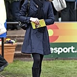 Previously she wore the coat to the Cheltenham Races in 2008 — dressing it up with a black fedora and matching knee boots.