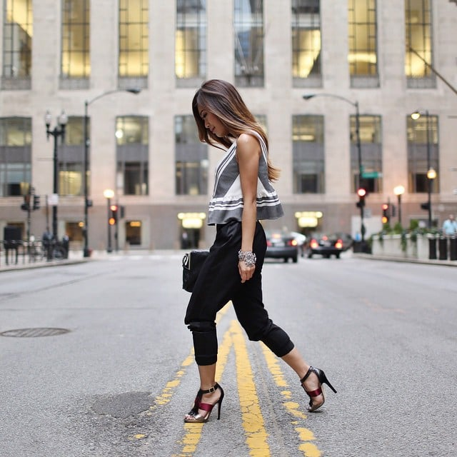 A Patterned Peplum Top Jogging Bottoms and Heels | 40 Outfits to Try When You u0026quot;Have Nothing to ...