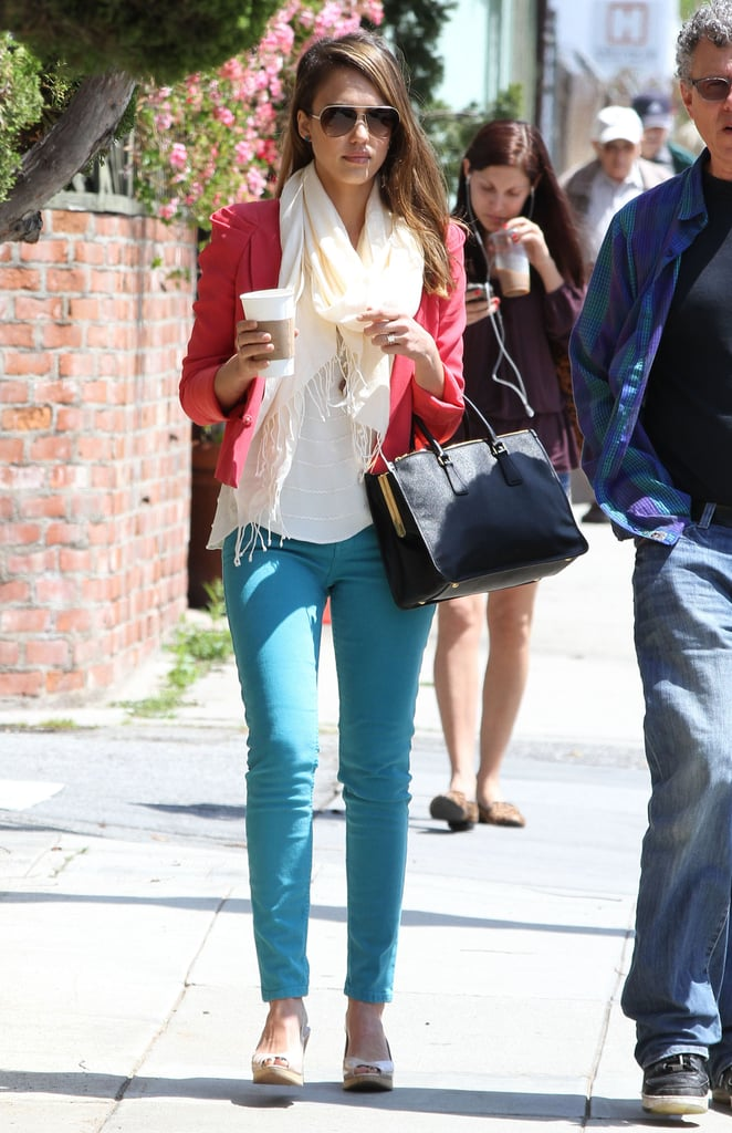 Jessica Alba is no stranger to bright palettes, and to this point, we think this turquoise-hued jean-and-pink-blazer combo is playful and Spring perfect.