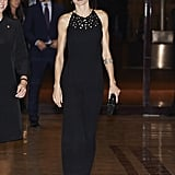Queen Letizia of Spain wearing a Felipe Varela jumpsuit.