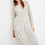Smocked Ruffle-Shoulder Midi Dress