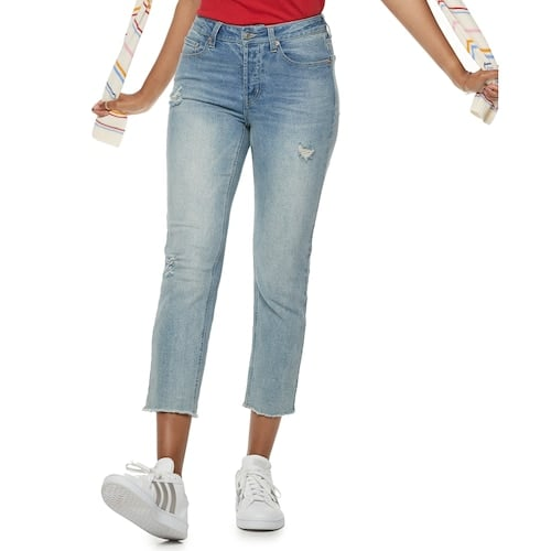 POPSUGAR Embroidered Midrise Straight-Leg Jeans