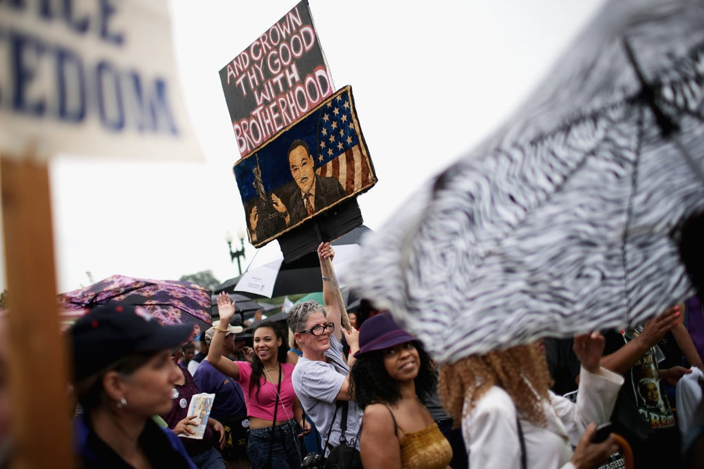 Signs Representing Freedom And Dr Martin Luther King Jr Were Held
