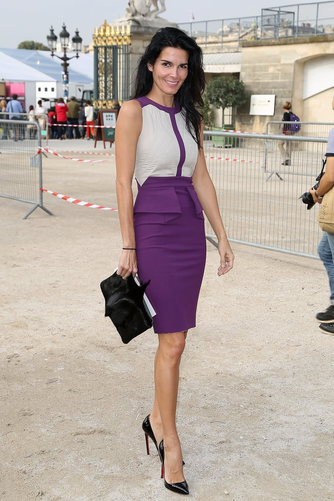 Angie Harmon's purple-and-nude colorblocked Elie Saab dress popped against the chic Parisian background en route to the designer's Spring 2014 show.