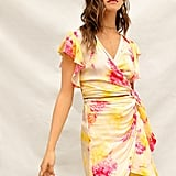 Shein Tie Dye Wrap Knot Waist Crop Top & Skirt Set
