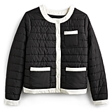 Colorblock Puffer Jacket in Jet Black