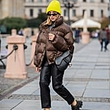 Winter Outfit Idea: A Neutral Puffer, Leather Pants, and a Beanie
