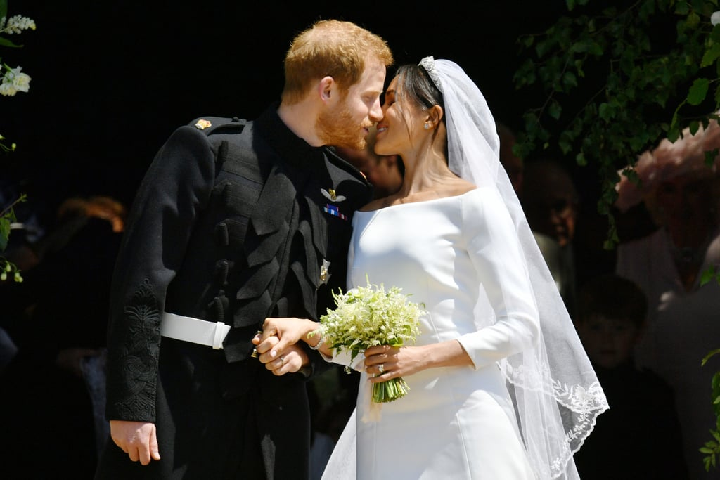 "Prince Harry and Meghan Markle are officially married! The couple tied the knot in a gorgeous ceremony at St. George's Chapel in London on Saturday, May 19, and we have every single photo from their big day for your viewing pleasure. Meghan, who arrived to the chapel with her mother, Doria Ragland, was a vision in a white dress by Clare Waight Keller, while Harry looked as handsome as ever in his military uniform. The couple was joined by Harry's older brother, Prince William, and Meghan's best friend, Jessica Mulroney, as they walked down the aisle at Windsor Castle. They exchanged vows in front of the royal family, close friends — including Priyanka Chopra, Serena Williams, George and Amal Clooney, and David and Victoria Beckham — and 1,200 members of the public. Members of their wedding party included Prince George and Princess Charlotte, who also had roles as a pageboy and flower girl, respectively. During the ceremony, Meghan was walked down the aisle by herself, and was helped at the Quire by Prince Charles. She was originally set to walk with her father, Thomas Markle, but news broke earlier in the week that Thomas had decided not to attend the wedding after he was caught staging photos of himself with the paparazzi as well as undergoing heart surgery. Harry and Meghan's hour-long ceremony also featured a heartfelt reading by the late Princess Diana's sister Lady Jane Fellowes, who gave the reading from the Song of Solomon. After saying ""I do,"" Harry and Meghan left the church for their carriage procession in the Ascot Landau, which was often used by Princess Diana during her time as a member of the royal family. It's also the same carriage Harry rode in during his brother's wedding to Kate Middleton in 2011.  Harry and Meghan first struck up a relationship in May 2016. They made their public debut as a couple at Harry's Invictus Games in September 2017 and announced their plans to marry two months later. Now that Harry and Meghan are officially husband and wife, the pair will jet off on their honeymoon — but not immediately. According to Kensington Palace spokesman Jason Knauf, ""The couple will be going on honeymoon, but not straightaway."" He added that, instead, ""They will have their first engagement as a married couple in the week after the wedding."" They are reported to be celebrating at a luxury resort in Namibia."
