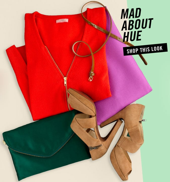 Mix your bold brights with neutral accessories in camel and olive.