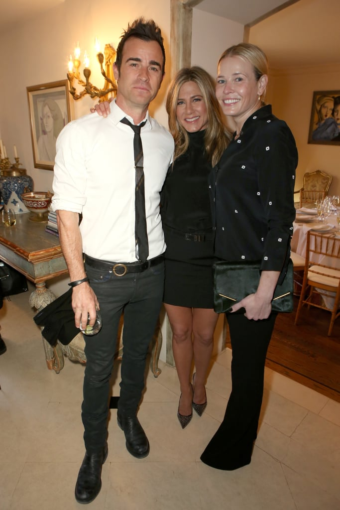 """Jennifer Aniston was the guest of honour at a special lunch hosted by Arianna Huffington in LA on Tuesday. The gathering was in celebration of Jennifer's highly acclaimed role in Cake, which recently garnered her nominations for Golden Globe, SAG, and Critics' Choice Movie awards. During the party, which was held at Arianna's home, Jennifer had the support of her fiancé, Justin Theroux, as well as her close friend Chelsea Handler and former Friends costar Lisa Kudrow. The event also brought out Salma Hayek, Nia Vardalos, and director Rob Reiner.  Jen and Justin are back in LA after ringing in the New Year in Mexico with a crew of couples that included John Krasinski and Emily Blunt, Jimmy Kimmel and Molly McNearney, and Howard Stern and Beth Ostrosky. Most recently, Jen made headlines with her candid comments to InStyle magazine about her divorce from Brad Pitt and how her life is constantly played out in the tabloids, saying, """"When I'm pregnant and married, I will let you know.' Not a tabloid publication. Not Bullsh*t Times or Crapass Bullsh*t Times Weekly. They will not be telling you."""""""