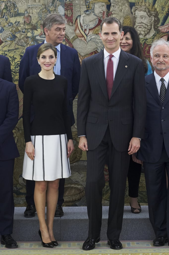 b3e549340425 When in Doubt, Black and White | Queen Letizia of Spain's Style ...