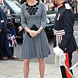 Kate wearing Orla Kiely in October 2015.