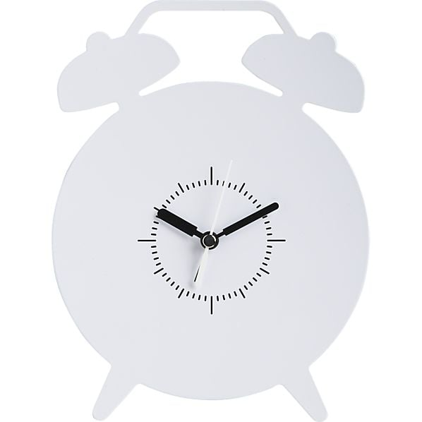With a sleek steel construction and a bright white finish, the number-free Crate & Barrel Alarm Alarm Clock ($23) is an eye-catching option.