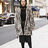 Style Your Leopard-Print Coat With: A Black Turtleneck, Skirt, and Tall Boots