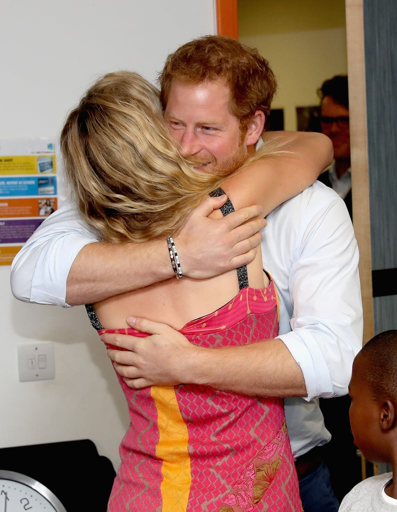 Harry and Joss Stone shared a sweet hug after spending a day with a children's choir in London in June.