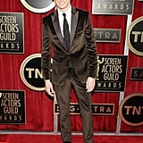 Eddie Redmayne wore a brown suit for the SAG Awards.