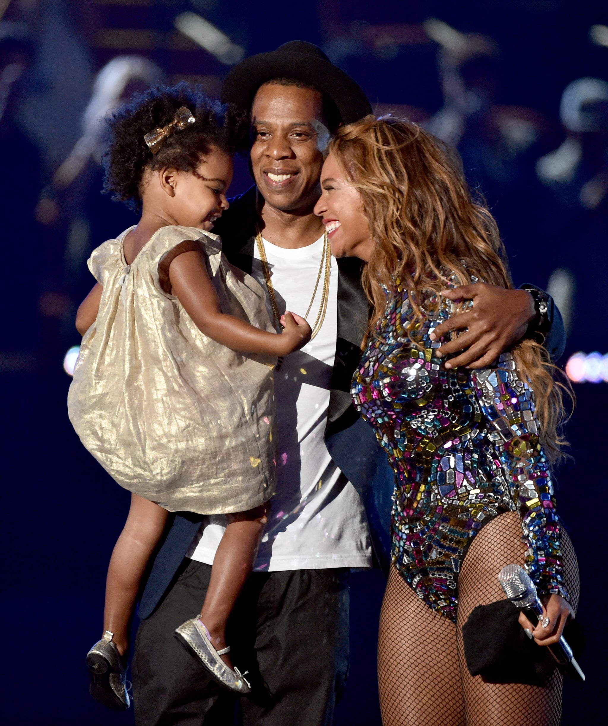 INGLEWOOD, CA - AUGUST 24:  Rapper Jay Z and singer Beyonce with daughter Blue Ivy Carter onstage during the 2014 MTV Video Music Awards at The Forum on August 24, 2014 in Inglewood, California.  (Photo by Kevin Winter/MTV1415/Getty Images for MTV)